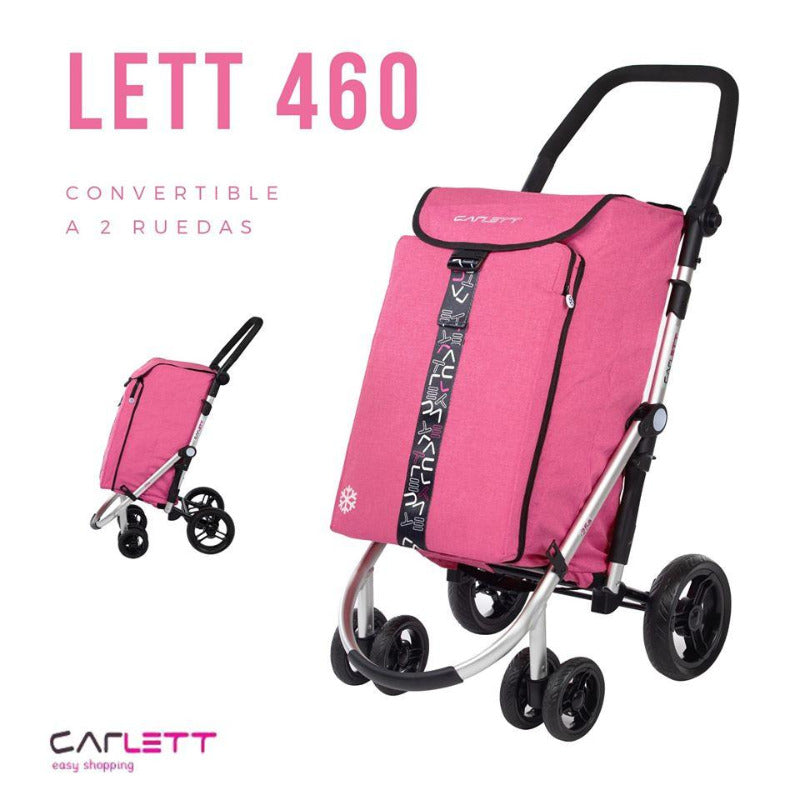 CARLETT LETT460 folding Shopping Trolley Cart with Cooler Bag in Pink image
