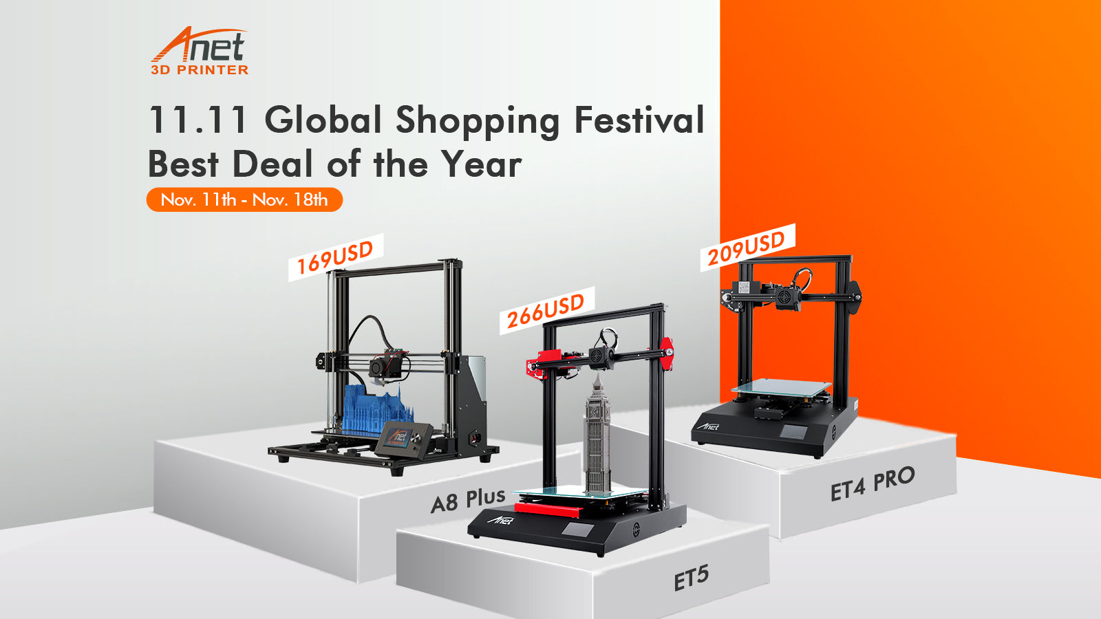 Anet Is Now Offering Incredible Discounts on 3D Printers & Filament for Double Eleven Shopping Festival