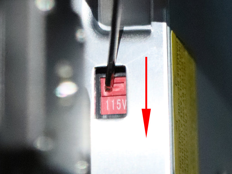 Voltage switch (115V) on AC-DC power supply for ET4 Pro 3D printer