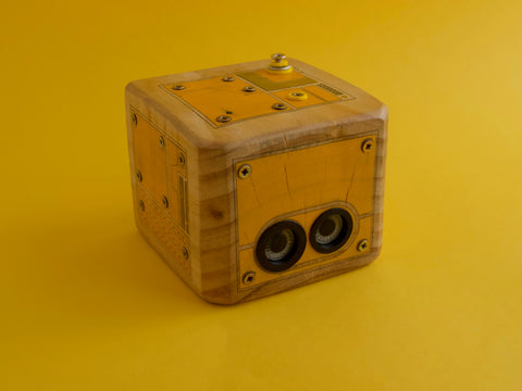 3d printed and wood made robots