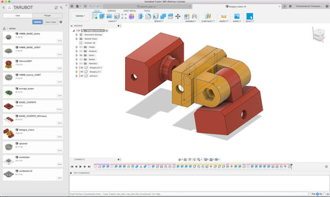 For the design of parts and rotary joints I use Fusion 360, Blender and Cura for Print.