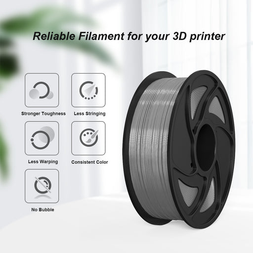 Silver PLA 1kg/ 2.2lb 1.75mm Spool 3D Printing Filament - Anet 3D Printer