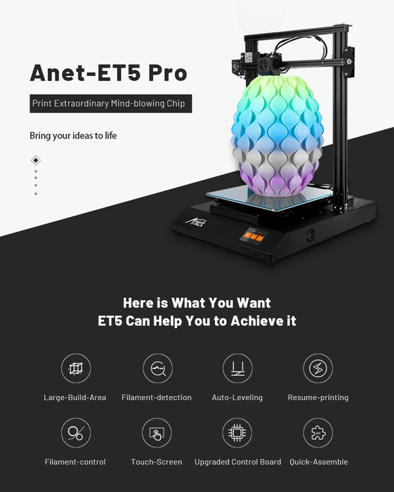 ET5 Pro 3D Printer with TMC 2208 Slient Mainboard and 300*300*400mm Print Size - Anet 3D Printer