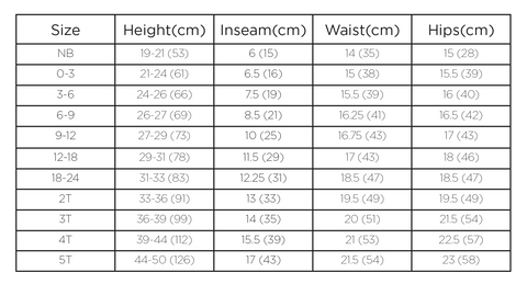 size chart rompers