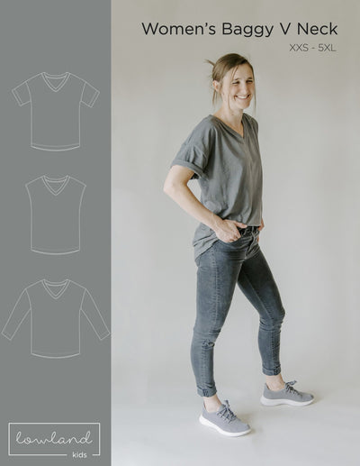 Women's Baggy V Neck Tee - Lowland Kids