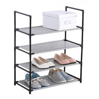 4 Level Metal Frame Shoe Rack with Fabric Shelf - BayShoomar