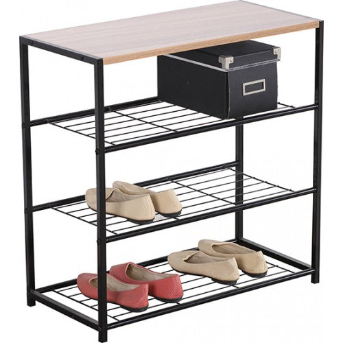 4 Tier Metal Shoe Rack with Wood - BayShoomar