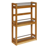 3 Tier Bamboo and Metal Wall Shelf - BayShoomar