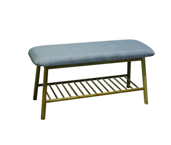 Cushioned Bench with Storage [Bamboo] - BayShoomar
