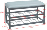Upholstered Bench with Storage [Grey | Black]