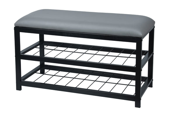 Upholstered Bench with Storage [Grey | Black] - BayShoomar