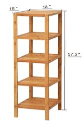 5 Tier Square Shelf Bamboo
