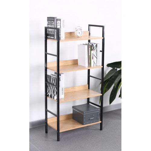 4 Tier Book Shelf, Wood and Metal - BayShoomar