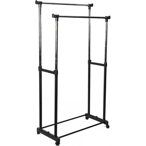 Garment Rack Double Poles on wheels - BayShoomar