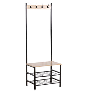 Hall Tree with Cloth hooks with Bench and 2 shelves Shoe Storage