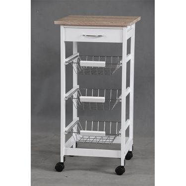 Kitchen Island with Wood Top and Wired 3 tier baskets - BayShoomar