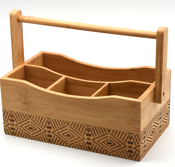 Cutlery Caddy | Engraved | Bamboo | Folding handle