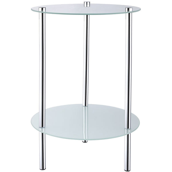 2 Tier Round Frosted Glass Side Table - BayShoomar