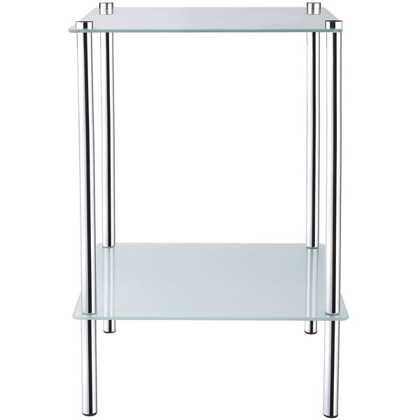 2 Tier Square Frosted Glass Side Table - BayShoomar