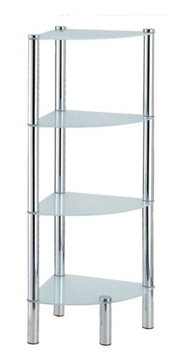 4 Tier Corner Frosted Glass Shelves - BayShoomar