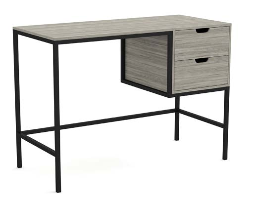"Computer Desk 48"" With 2 Storage Drawers Grey Wood Metal Frame - BayShoomar"