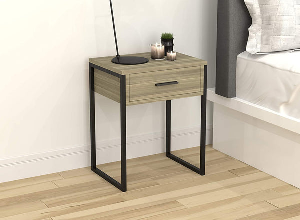 Dark Taupe Wood Top Metal Base 1 Drawer Accent Table