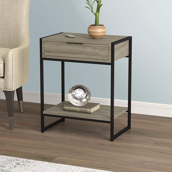 Rectangle Wood Top Metal Base 1 Drawer + 1 Shelf Accent Table