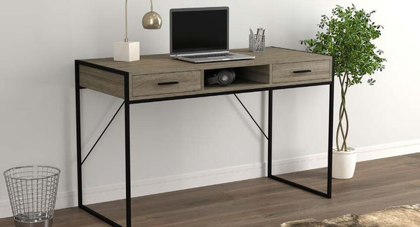 Computer Desk Dark Taupe |  2 Drawers 1 Shelf Black Metal - BayShoomar