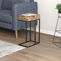 C Shaped Black Metal Accent Table with 1 Drawer