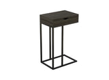 Accent-Table-15.75L-C-Shaped-Dark-Grey-Wood-1-Drawer-Black-Metal