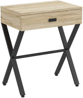 Reclaimed Wood & Black Metal Accent Table with 1 Drawer