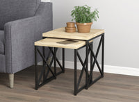 Wooden Nesting Table Metal Legs (Set of 2)
