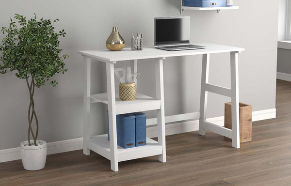Computer Desk White 2 Open Concept Shelves - BayShoomar