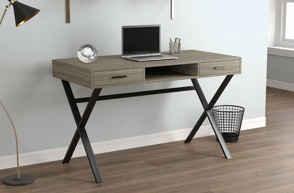 Computer Desk With 2 Drawers and 1 Shelf [Dark Taupe] - BayShoomar
