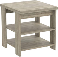Square Dark Taupe Accent Table with 2 shelves