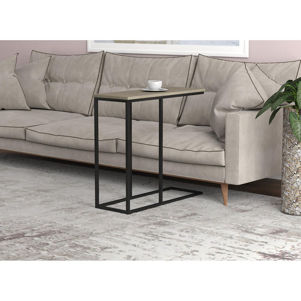 C-Shaped Dark Taupe and Black Metal Accent Table