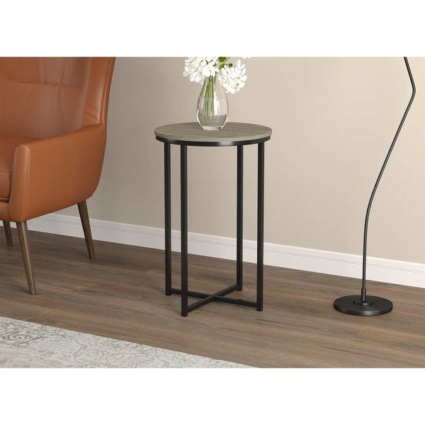 Round Shaped Accent Table With Black Metal Base