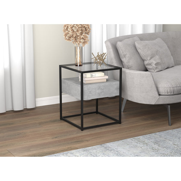 Dark Cement Accent Table with Glass Top and 1 Drawer