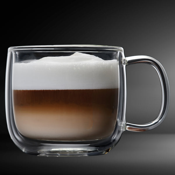 Cafe Latte Glass Double Wall Mug 4PC 475ML Barista