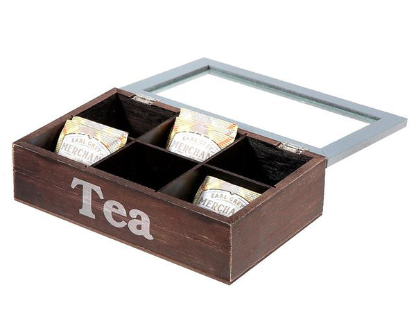 Tea Box Wooden Organizer 6 Section