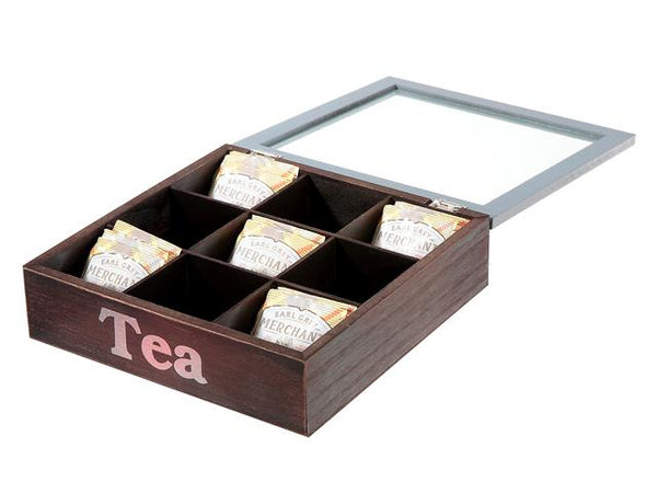 Wooden Tea Box Organizer 9 Section