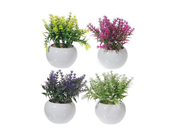 ARTIFICIAL FLOWERS IN CERAMIC WHITE SQUARE PLANTER (ASSTD) - BayShoomar