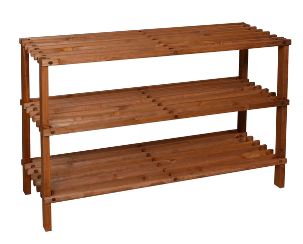 3 Tier Wooden Dark Shoe Rack - BayShoomar