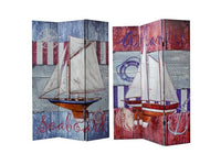 Double Sided 3 Panel Canvas Screen Sailboat - BayShoomar