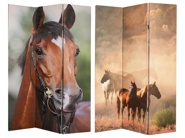 Double Sided 3 Panel Canvas Screen Horses - BayShoomar