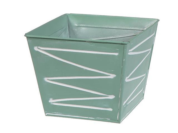METAL SQUARE PLANTER (MINT GREEN) - BayShoomar