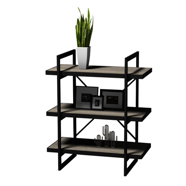 Loft Style 3 Tier Metal & MDF Shelf - BayShoomar