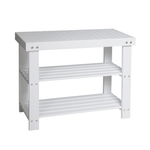 2 Tier Shoe Rack with bench [Bamboo | White] MDF - BayShoomar
