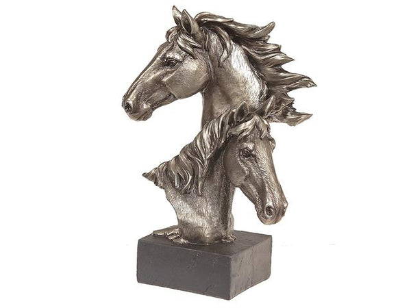 Resin Silver Double Horse Head on Stand