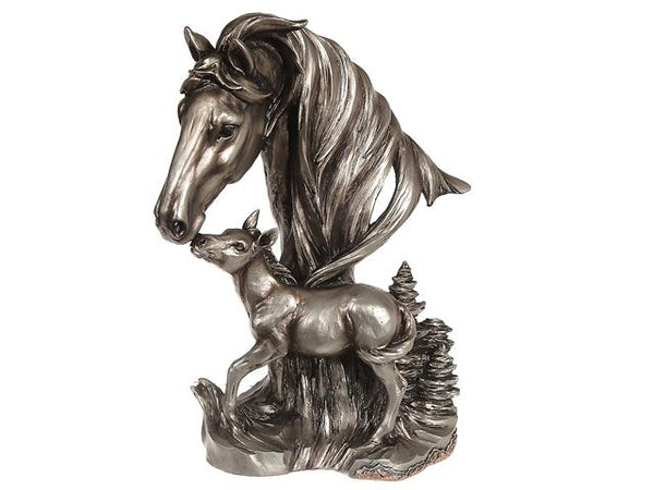 Resin Silver Horse with Baby Horse